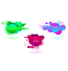 set vivid fluid color futuristic geometric vector image