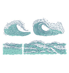 Set waves sea ocean big and small azure vector