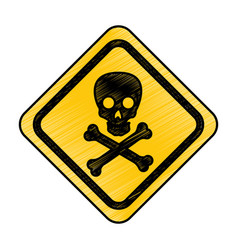 skull danger sign icon vector image