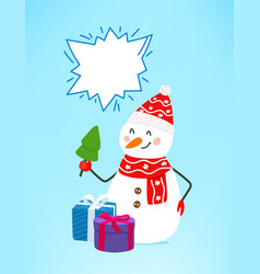 Snowman with gift boxes copy space for a text vector