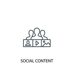 Social content concept line icon simple element vector