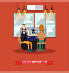 Sound recorder in flat style vector