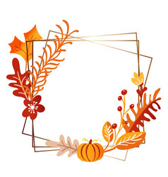 Square frame autumn bouquet wreath orange vector