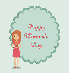 standing woman with flowers in her hands vector image