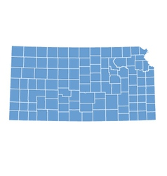 State Map of Kansas by counties vector