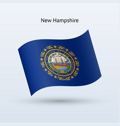 State of new hampshire flag waving form vector