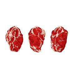Steaks on white vector
