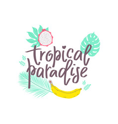summer design sticker with tropical beach elements vector image