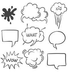 Text balloon white background doodle style vector