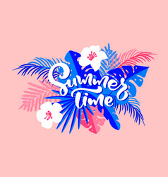 text summer time in floral tropical palm leaves vector image