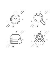 Time recovery server and search icons set safe vector