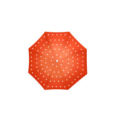 top view red umbrella with white polka dots vector image