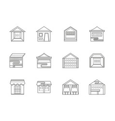 Trade tents flat line icons set vector