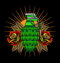traditional tattoo grenades vector image