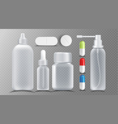 Transparent medical container jar for vector