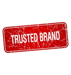 Trusted brand red square grunge textured isolated vector