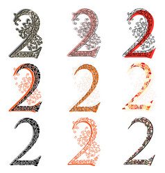 Various combination numeric figures 2 vector