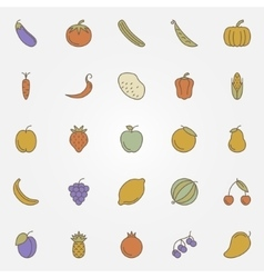 Vegetables and fruits flat icons vector image