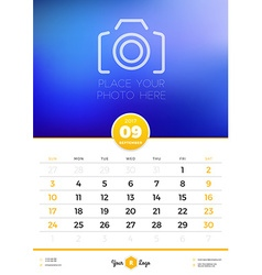 Wall Calendar Template for 2017 Year September vector image