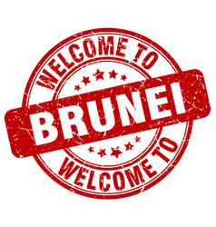 Welcome to brunei red round vintage stamp vector