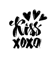 Xoxo text and hearts lettering text vector
