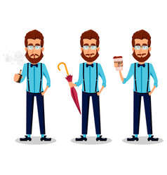 Young bearded hipster man in glasses vector