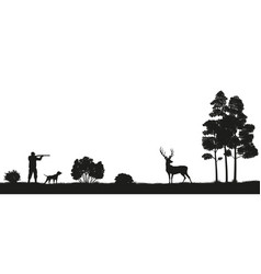 black silhouette of a hunter and dog in the forest vector image vector image