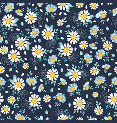 black white daisies ditsy seamless pattern vector image vector image
