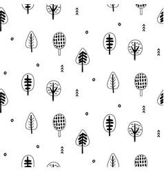 forest trees scandinavian seamless pattern vector image
