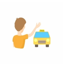 Taxi car and passenger waving icon cartoon style vector image