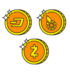 cryptocurrency black outline gold icons dash vector image vector image