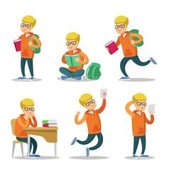 cute student cartoon character set vector image