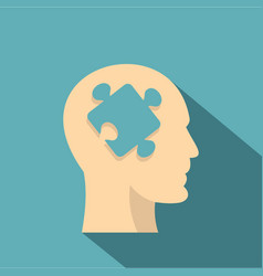 head silhouette with jigsaw puzzle icon flat style vector image