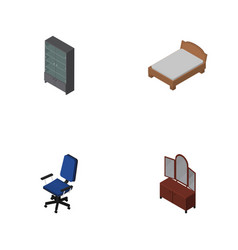 Isometric design set of bedstead drawer office vector