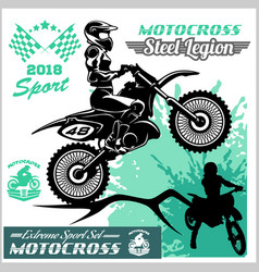 motocross rider - emblem and logos vector image