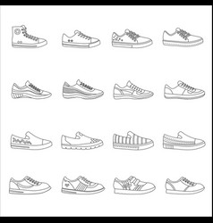 sneakers shoes outline line stroke icons set vector image