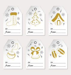 a set of six christmas or new year gift tags with vector image vector image