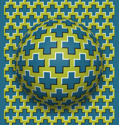crosses patterned ball rolling along the same vector image