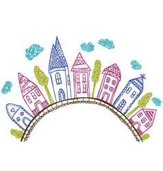 Houses on hill - doodle vector image