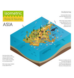 isometric 3d asian flora and fauna map vector image