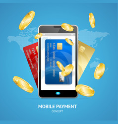 realistic mobile phone payment concept with credit vector image vector image