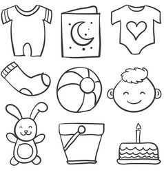 Set of baby theme doodles vector
