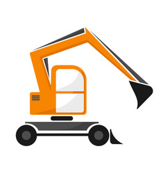 Wheel orange excavator with dipper single vector