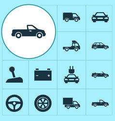 automobile icons set collection of van truck vector image vector image