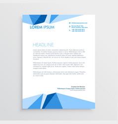 blue geometric letterhead template design vector image