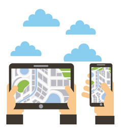 hands with tablet and smartphone navigation map vector image