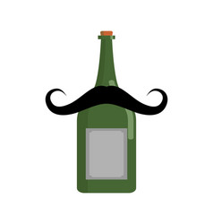 old bottle of wine with mustache vintage alcohol vector image vector image