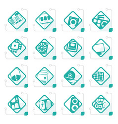 stylized computer performance and equipment icons vector image