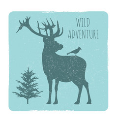 wild forest adventures emblem with deer and bird vector image vector image