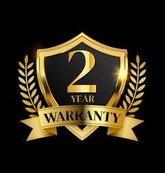 2 year warranty golden shield vector